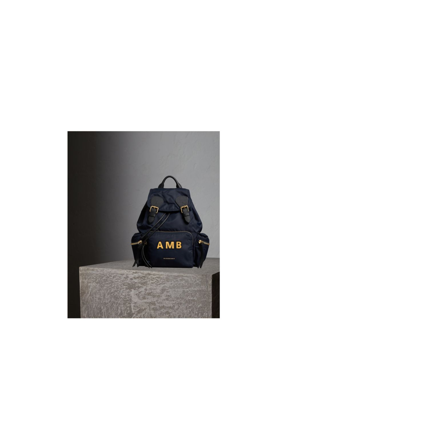 The Medium Rucksack in Technical Nylon and Leather Ink Blue - gallery image 2