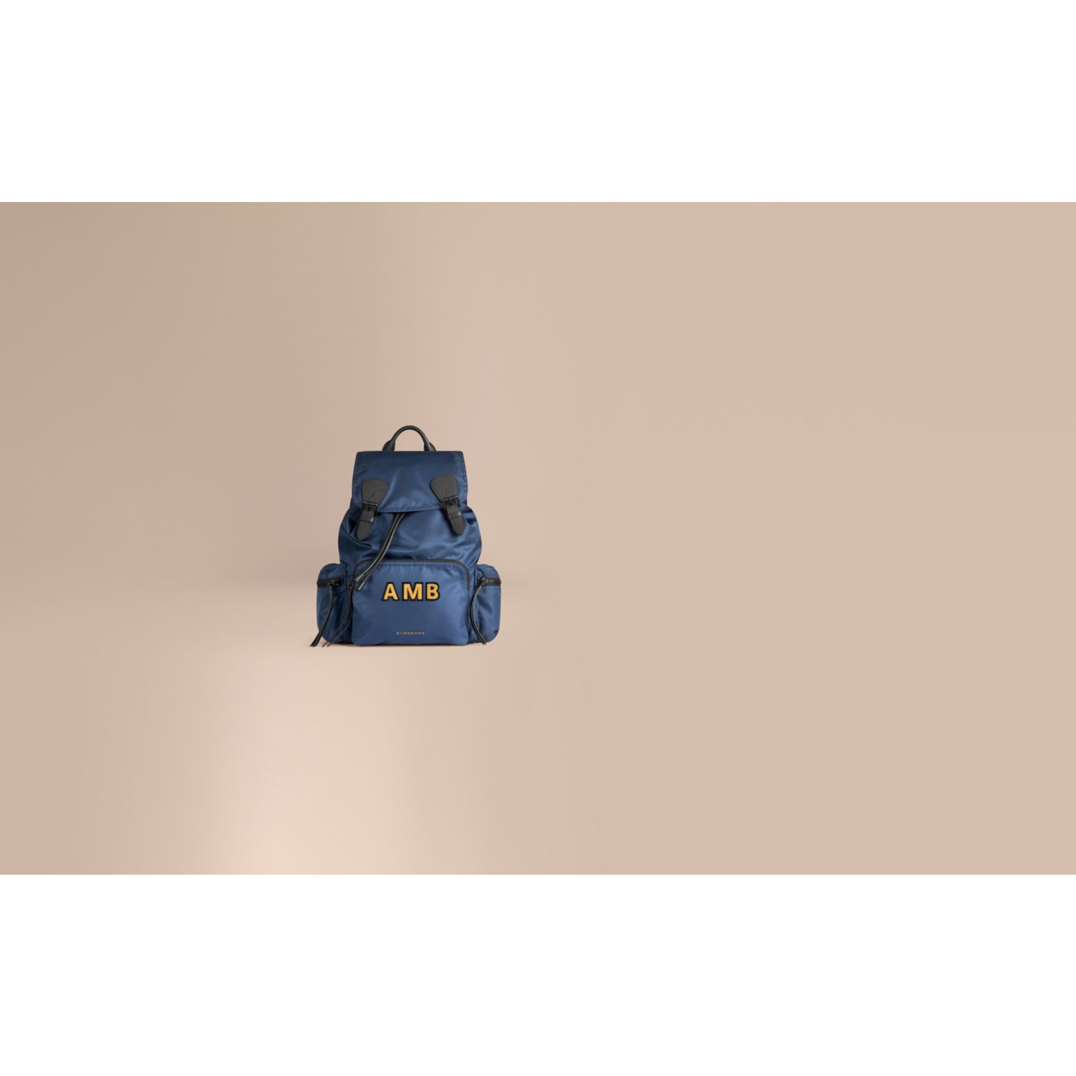 The Large Rucksack in Technical Nylon and Leather Steel Blue - gallery image 2