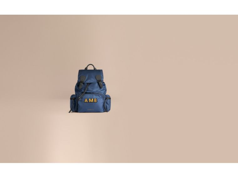 The Large Rucksack in Technical Nylon and Leather Steel Blue - cell image 1