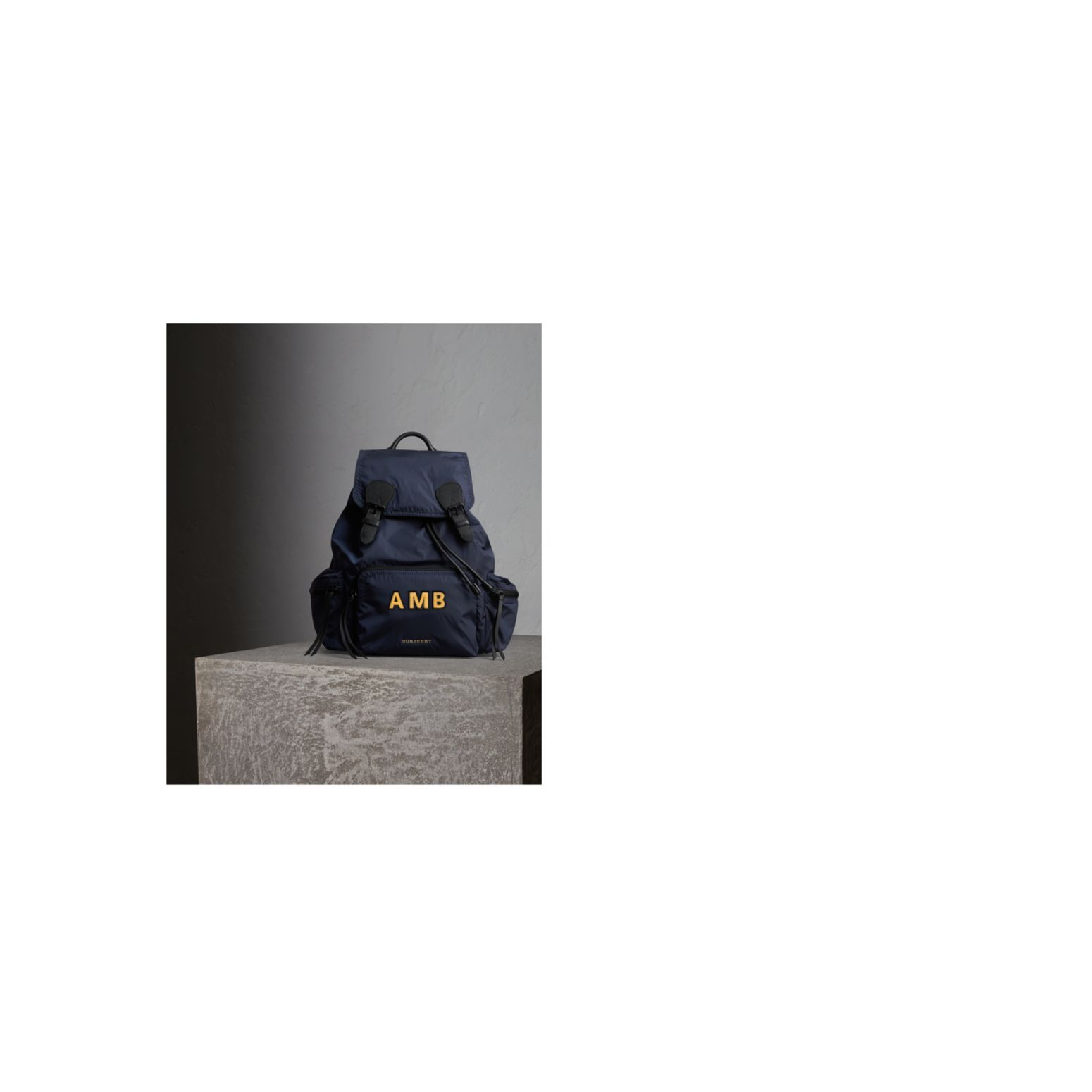 The Large Rucksack in Technical Nylon and Leather in Ink Blue - Men | Burberry United States - gallery image 1