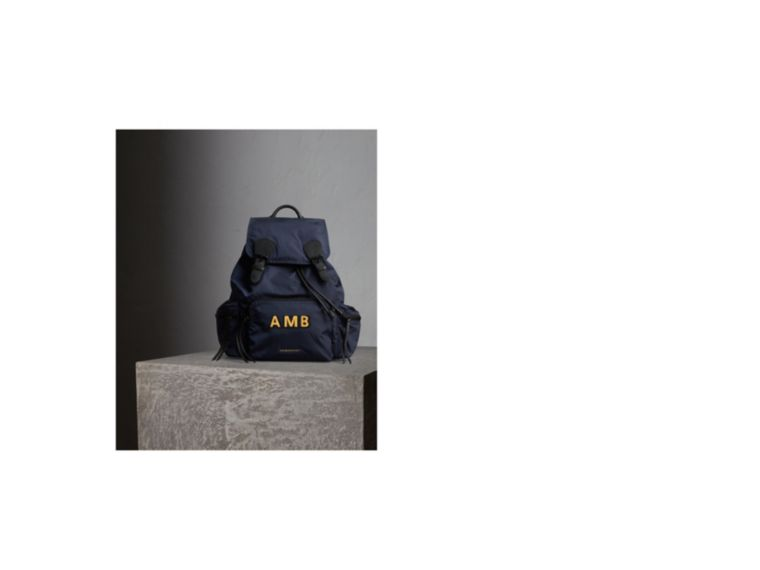 The Large Rucksack in Technical Nylon and Leather Ink Blue - cell image 1