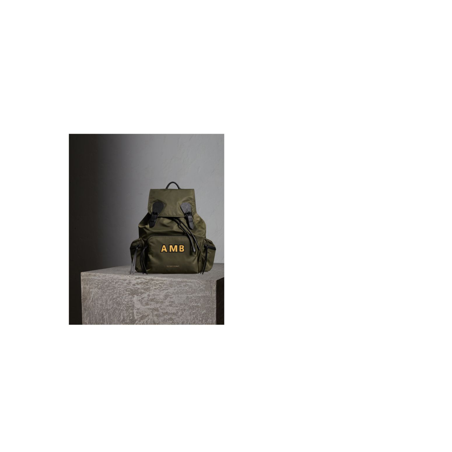 The Large Rucksack in Technical Nylon and Leather Canvas Green - gallery image 2