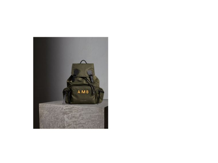 Canvas green The Large Rucksack in Technical Nylon and Leather Canvas Green - cell image 1