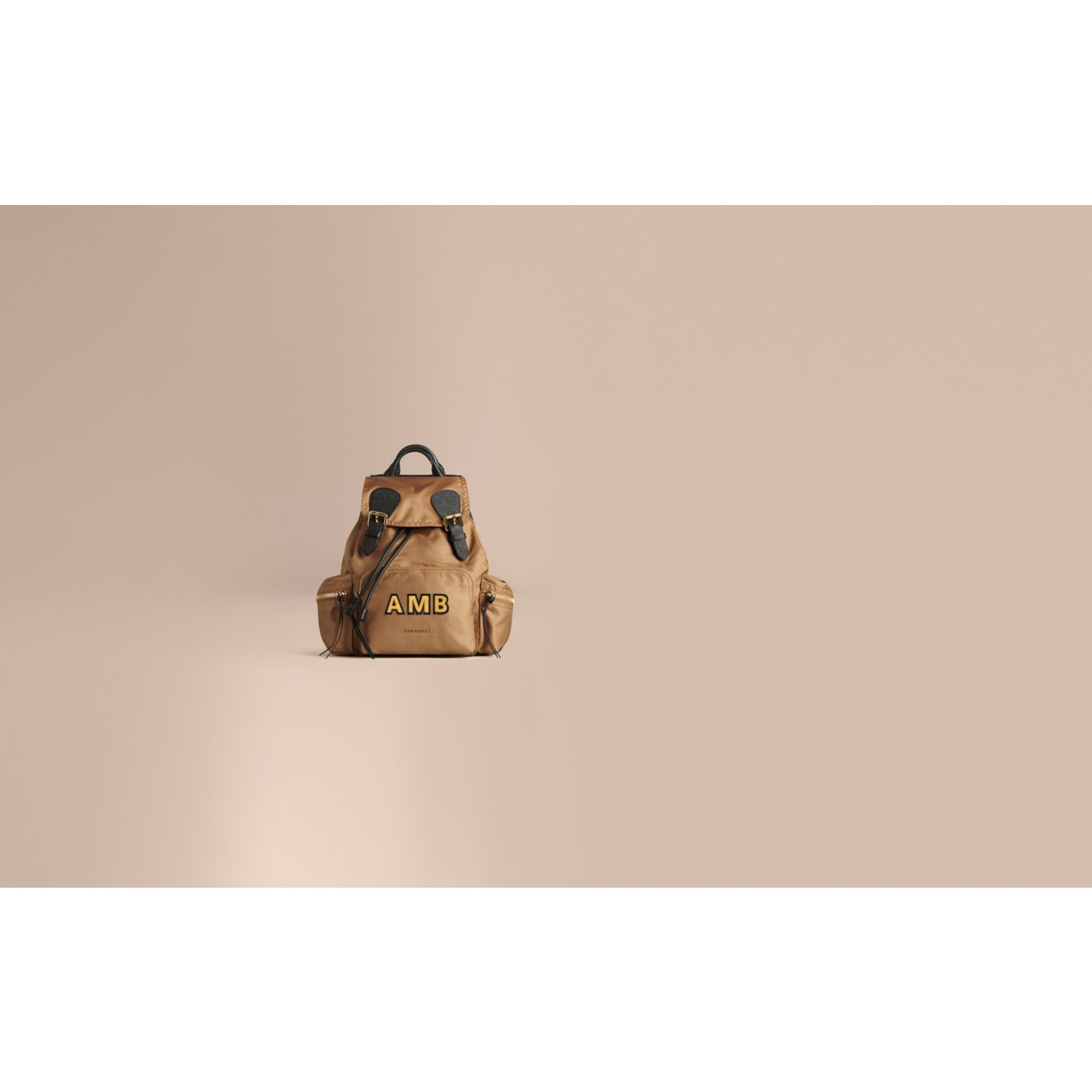The Medium Rucksack in Technical Nylon and Leather in Light Flax - gallery image 2