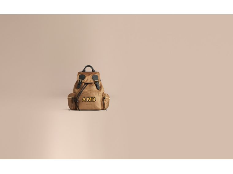 The Medium Rucksack in Technical Nylon and Leather in Light Flax - cell image 1
