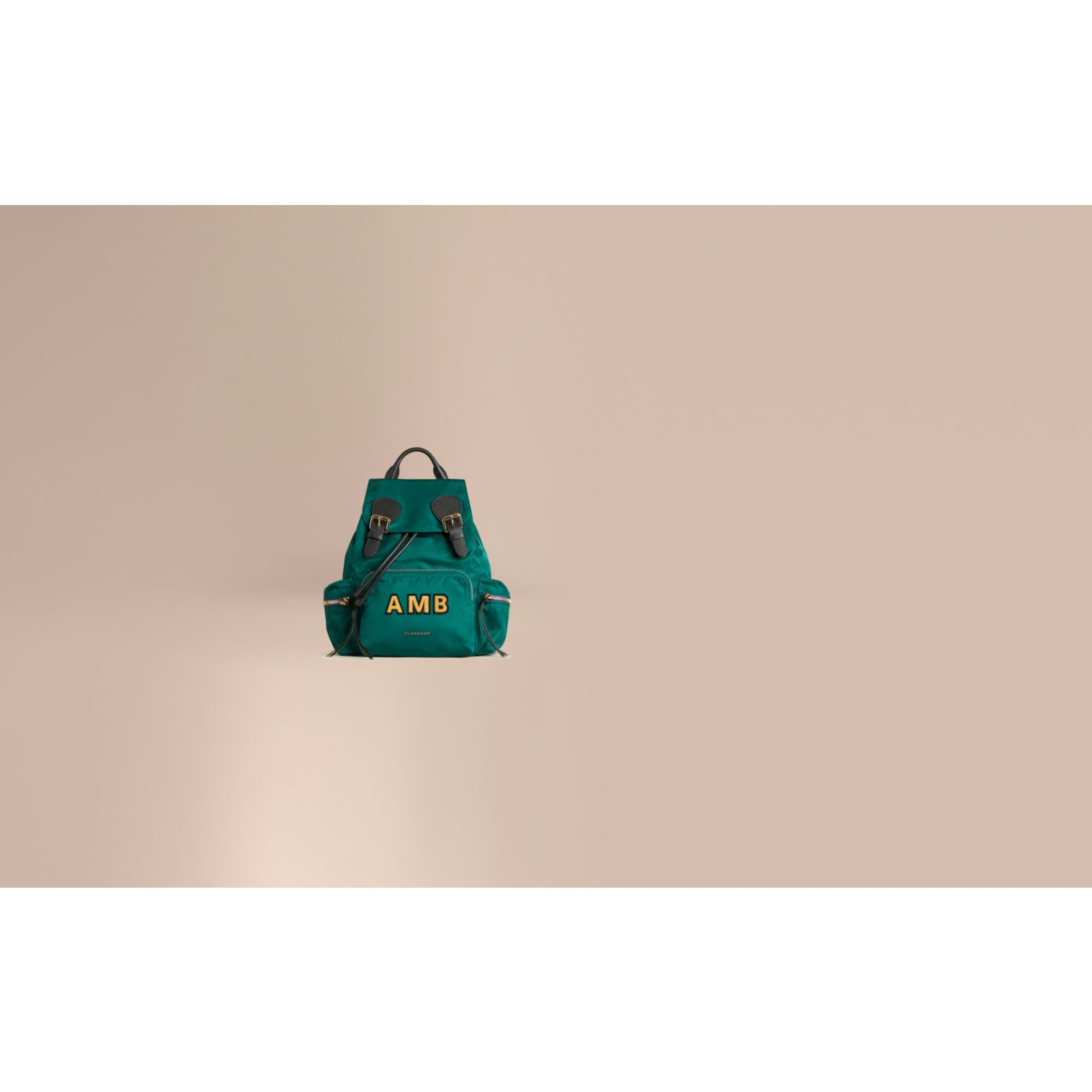 Pine green The Medium Rucksack in Technical Nylon and Leather Pine Green - gallery image 2