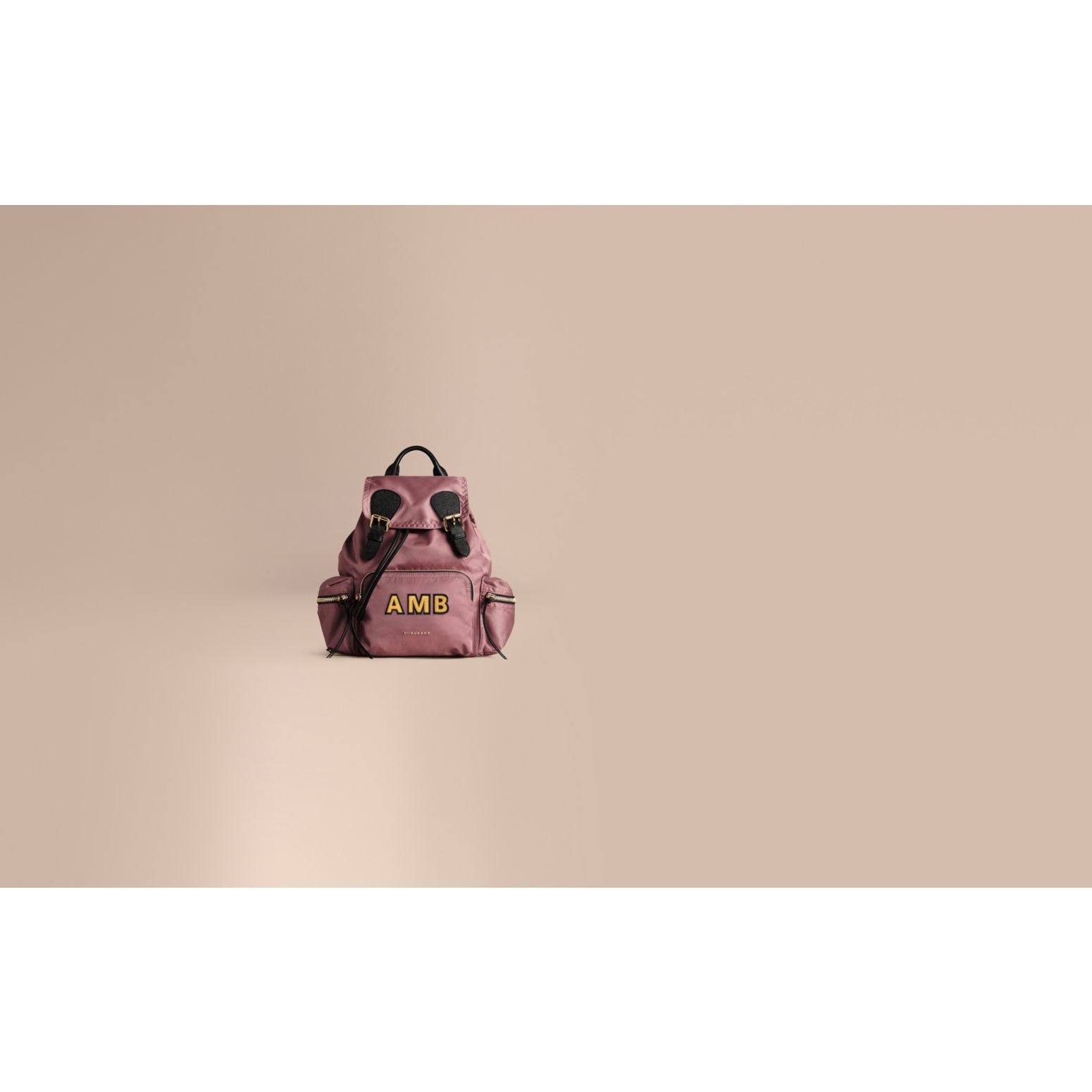 The Medium Rucksack in Technical Nylon and Leather Mauve Pink - gallery image 2