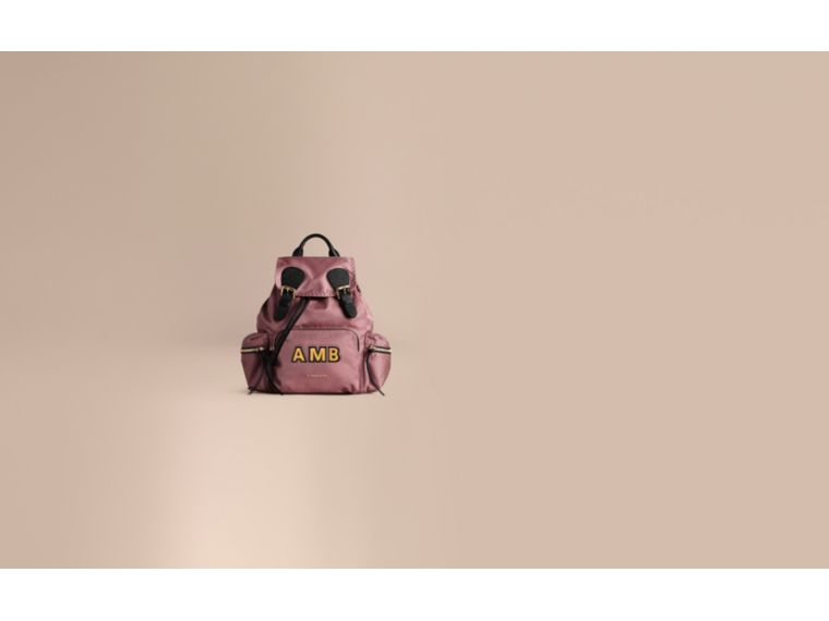 The Medium Rucksack in Technical Nylon and Leather Mauve Pink - cell image 1