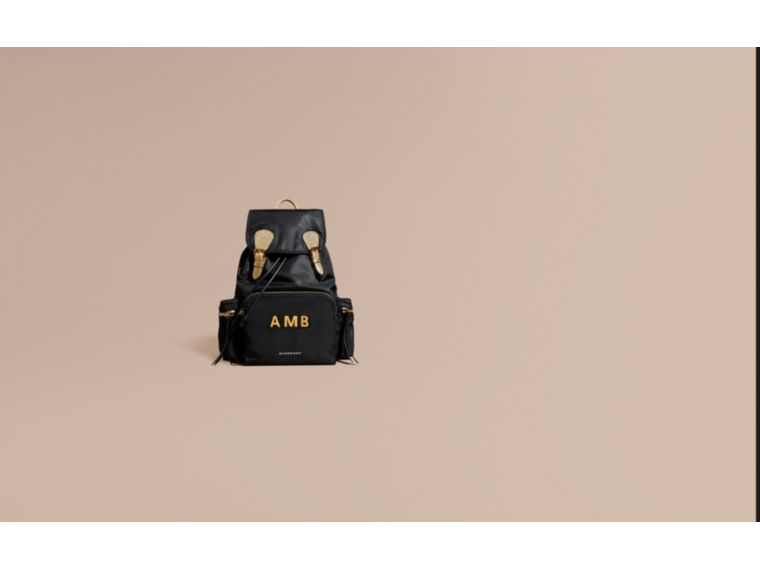Black/gold The Large Rucksack in Two-tone Nylon and Leather - cell image 1
