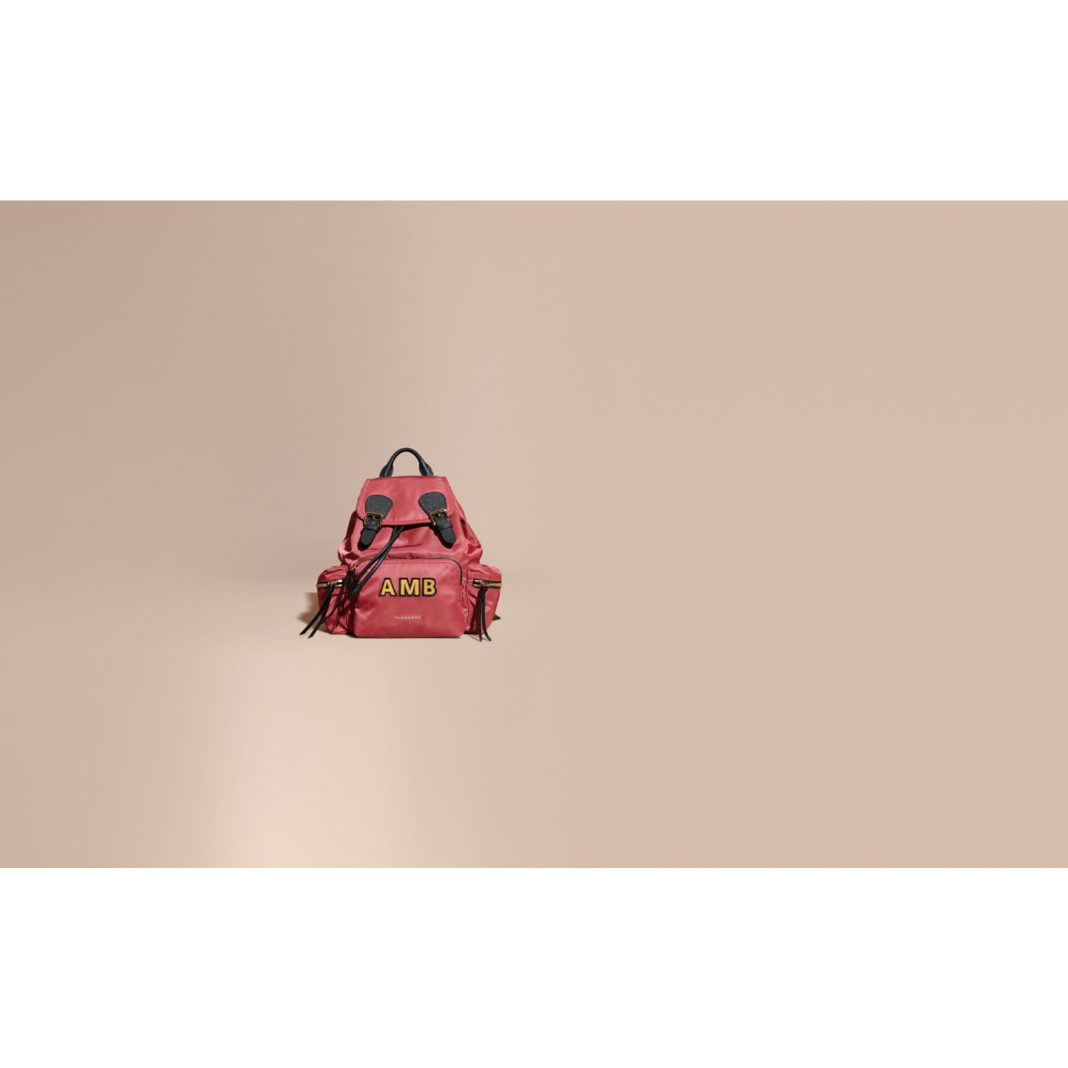 The Medium Rucksack in Technical Nylon and Leather Plum Pink - gallery image 2