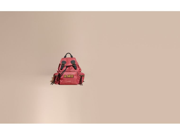 The Medium Rucksack in Technical Nylon and Leather Plum Pink - cell image 1