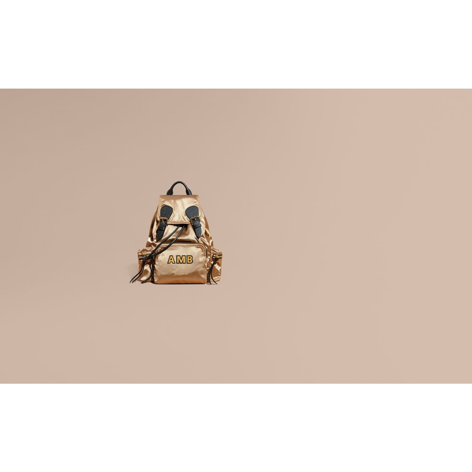 Gold/black The Medium Rucksack in Two-tone Nylon and Leather Gold/black - gallery image 2