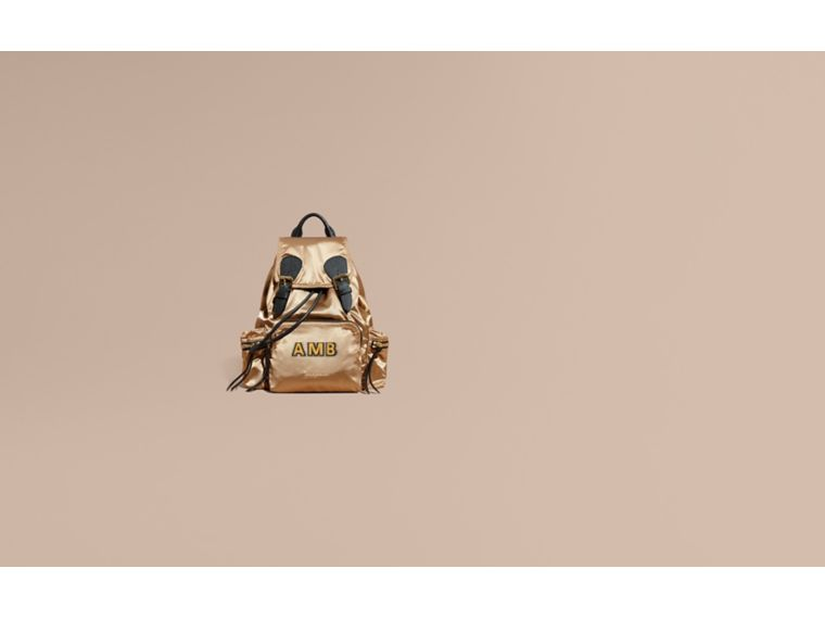 The Medium Rucksack in Two-tone Nylon and Leather in Gold/black - Women | Burberry United States - cell image 1