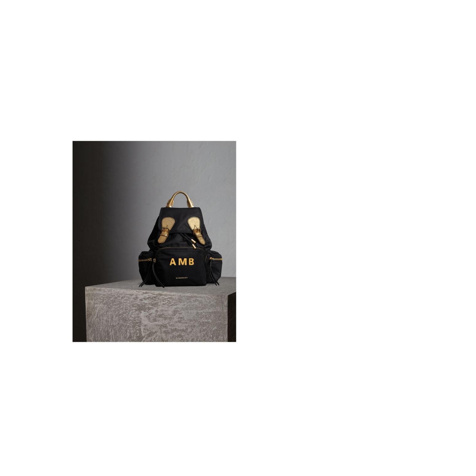 The Medium Rucksack in Two-tone Nylon and Leather Black/gold - gallery image 2