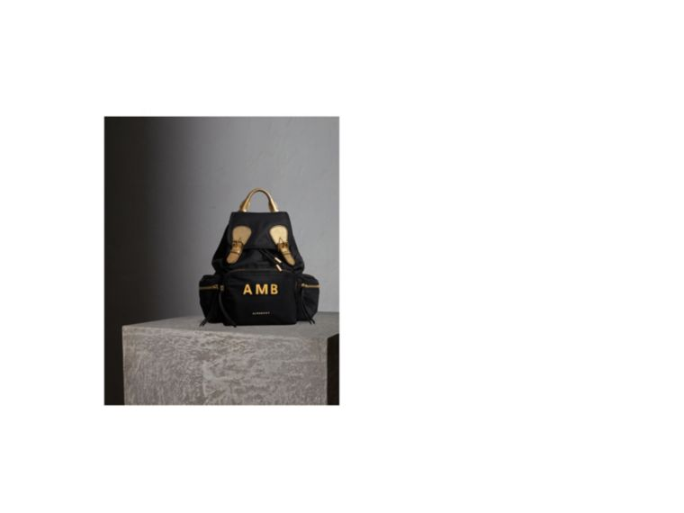 The Medium Rucksack in Two-tone Nylon and Leather Black/gold - cell image 1
