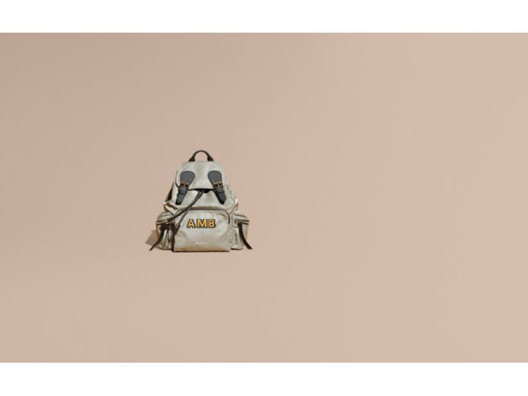 The Medium Rucksack in Technical Nylon and Leather Thistle Grey - cell image 1