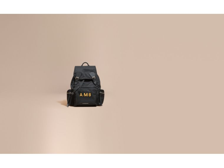 The Large Rucksack in Technical Nylon and Leather in Black - Women | Burberry Australia - cell image 1