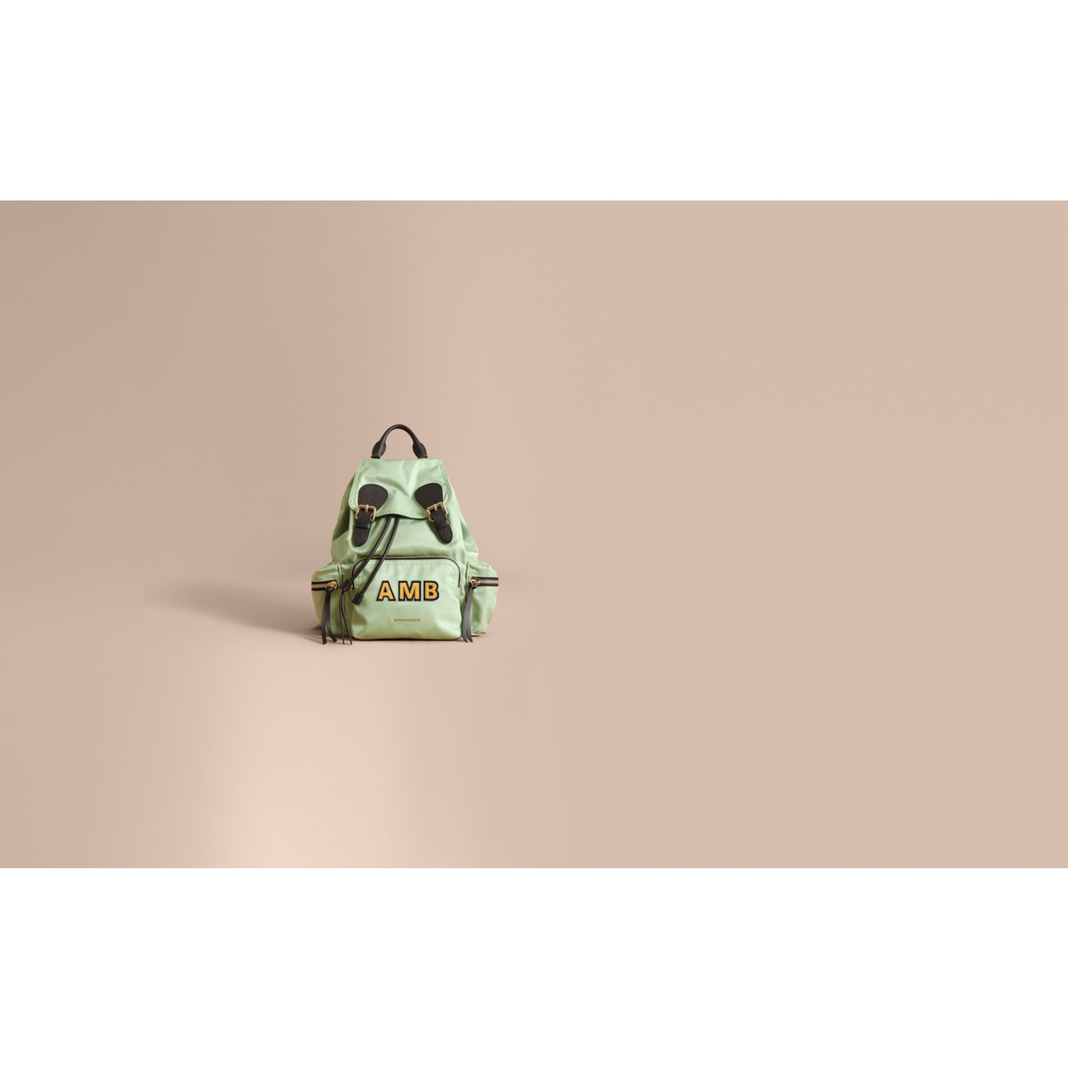 The Medium Rucksack in Technical Nylon and Leather in Apple Green - Women | Burberry United States - gallery image 2