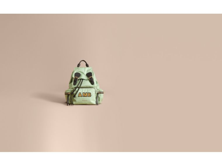 The Medium Rucksack in Technical Nylon and Leather in Apple Green - Women | Burberry Hong Kong - cell image 1
