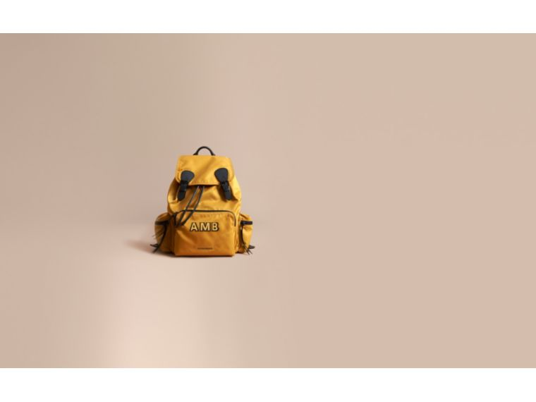 The Large Rucksack in Technical Nylon and Leather in Ochre Yellow - Men | Burberry - cell image 1