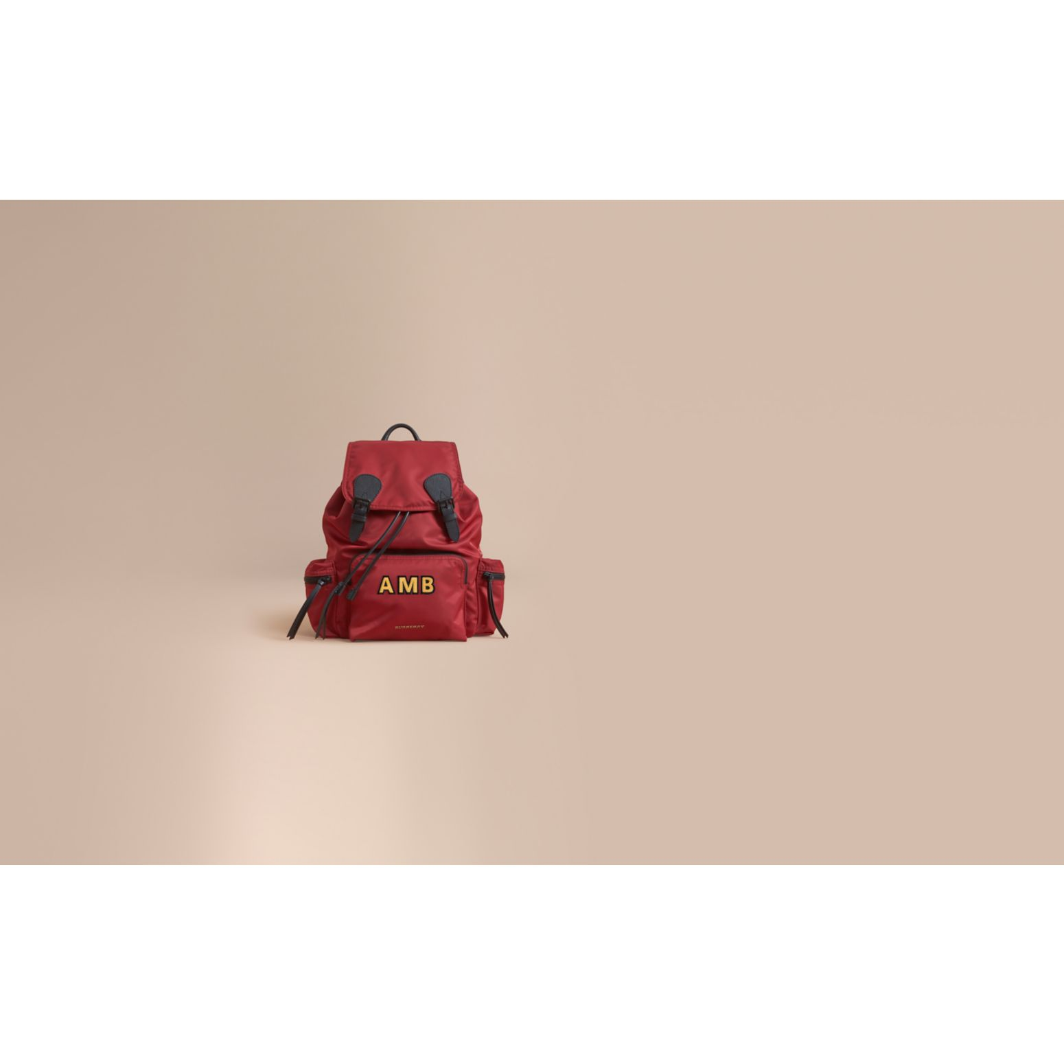 The Large Rucksack in Technical Nylon and Leather in Antique Red - Men | Burberry - gallery image 2