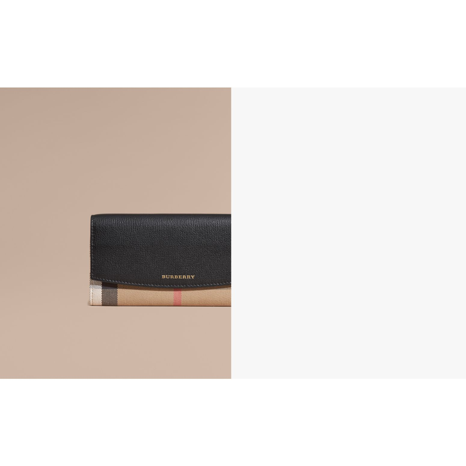 House Check And Leather Continental Wallet Black - gallery image 2