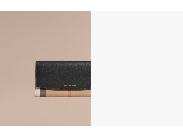 House Check And Leather Continental Wallet in Black - Women | Burberry - cell image 1