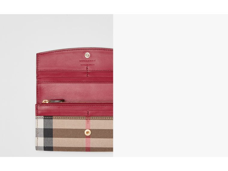 House Check And Leather Continental Wallet in Military Red - Women | Burberry - cell image 1