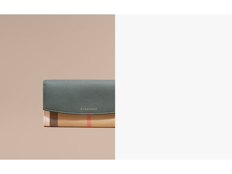 House Check and Leather Continental Wallet Smokey Green - cell image 1