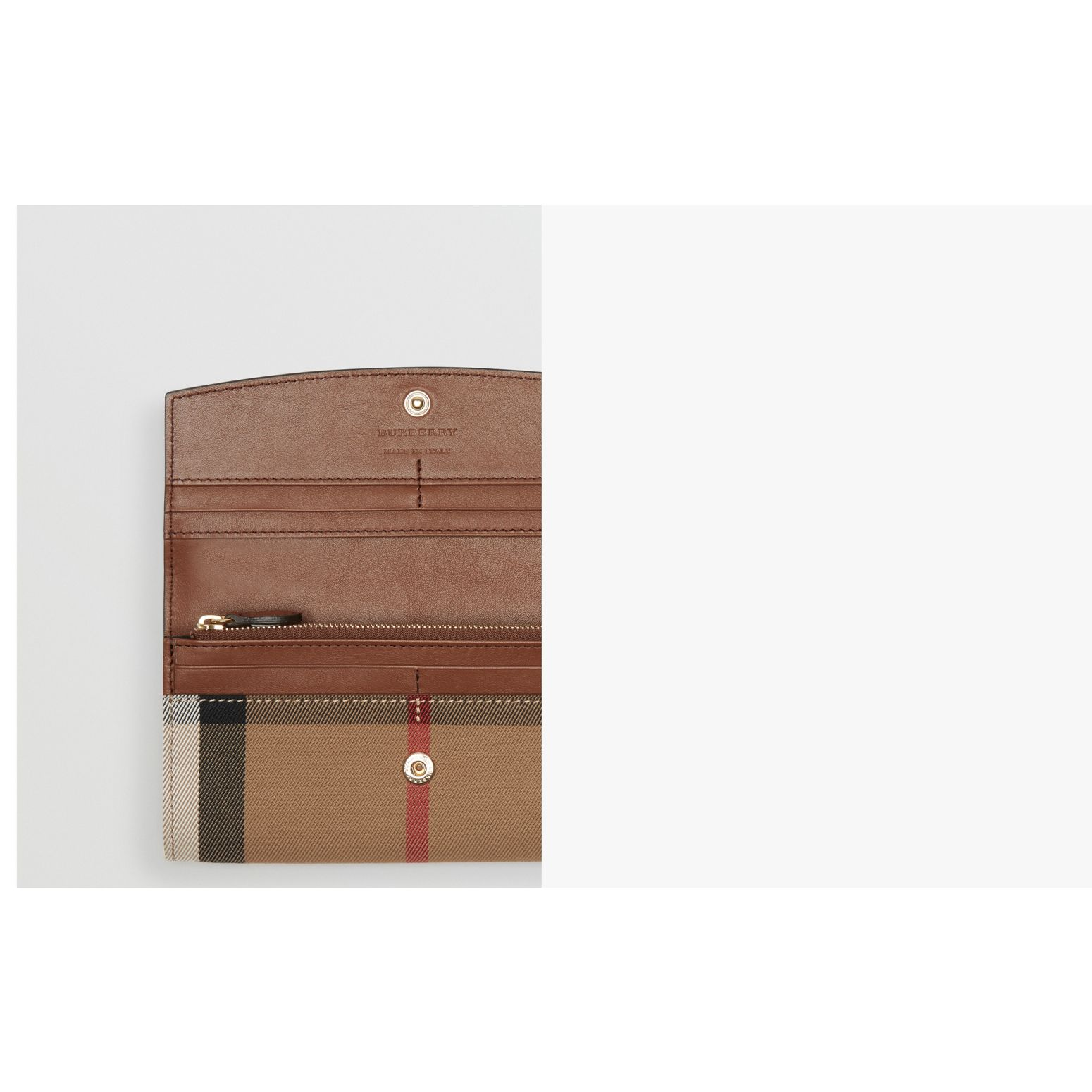Tan House Check And Leather Continental Wallet Tan - gallery image 2
