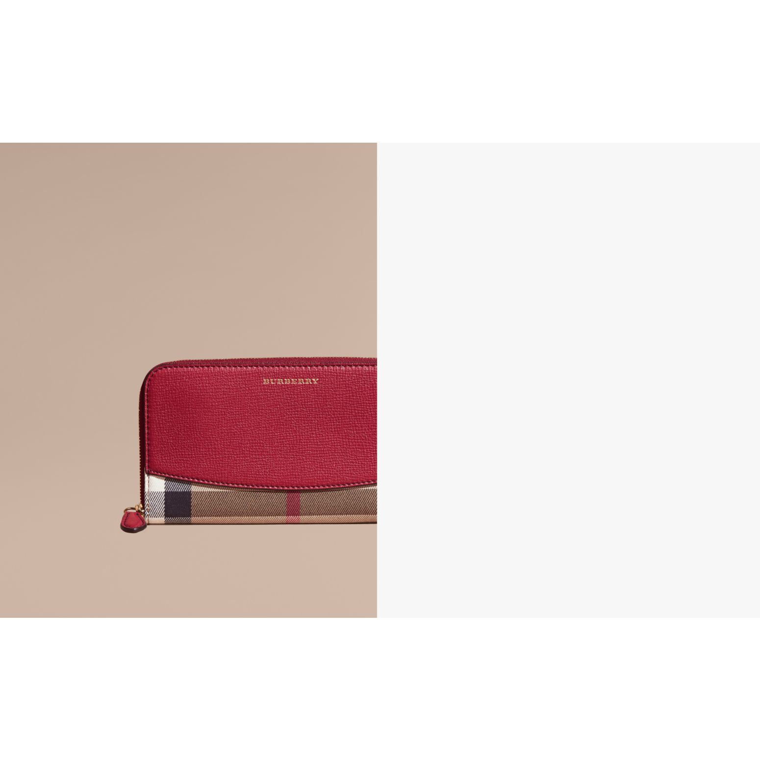 House Check and Leather Ziparound Wallet Military Red - gallery image 2
