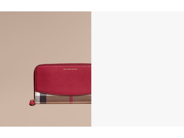 House Check and Leather Ziparound Wallet in Military Red - Women | Burberry Australia - cell image 1