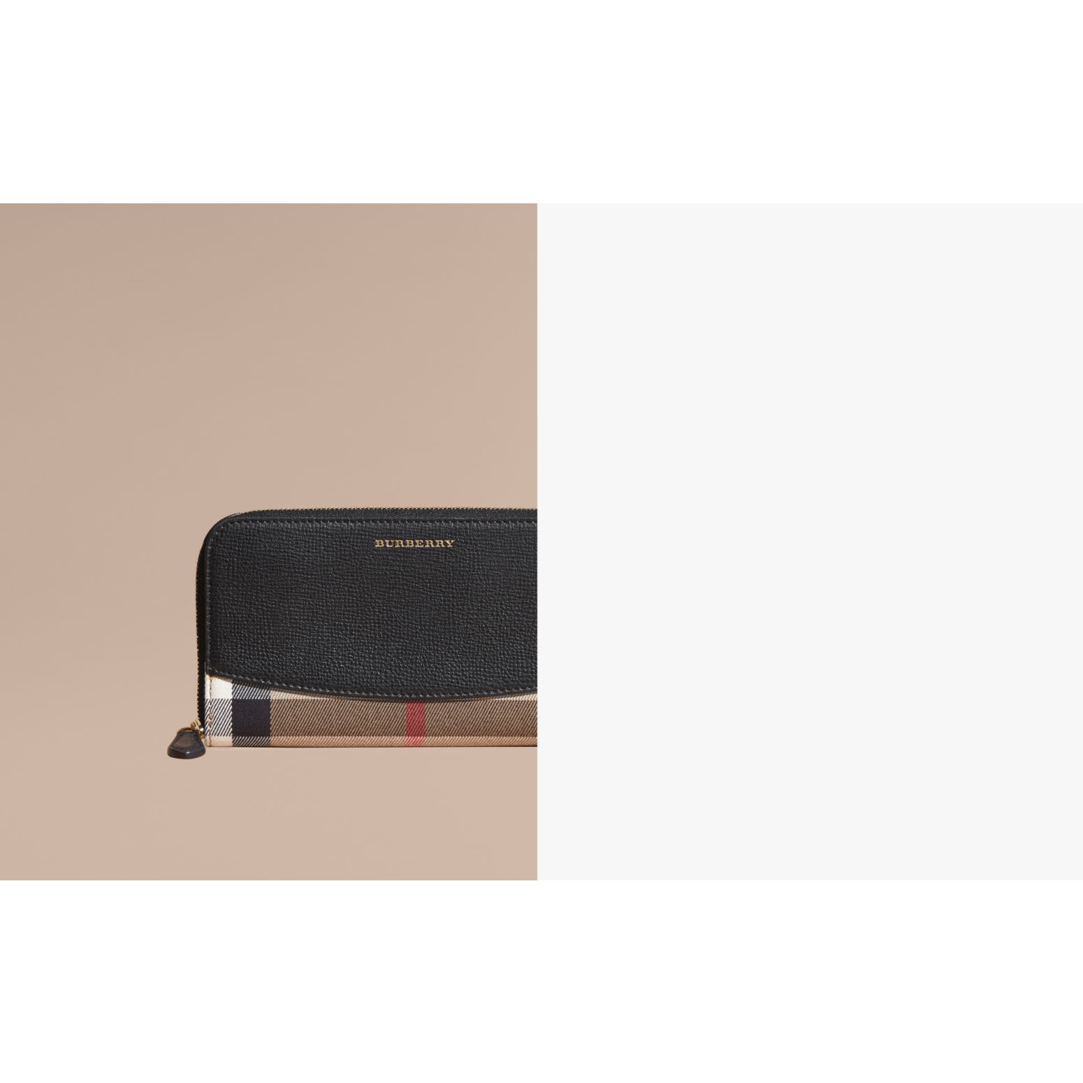 House Check and Leather Ziparound Wallet in Black - Women | Burberry Australia - gallery image 1