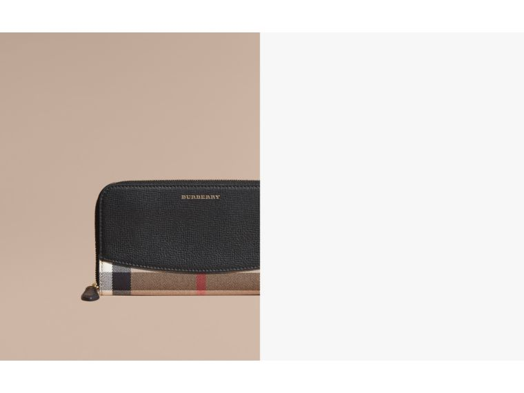 House Check and Leather Ziparound Wallet in Black - Women | Burberry - cell image 1