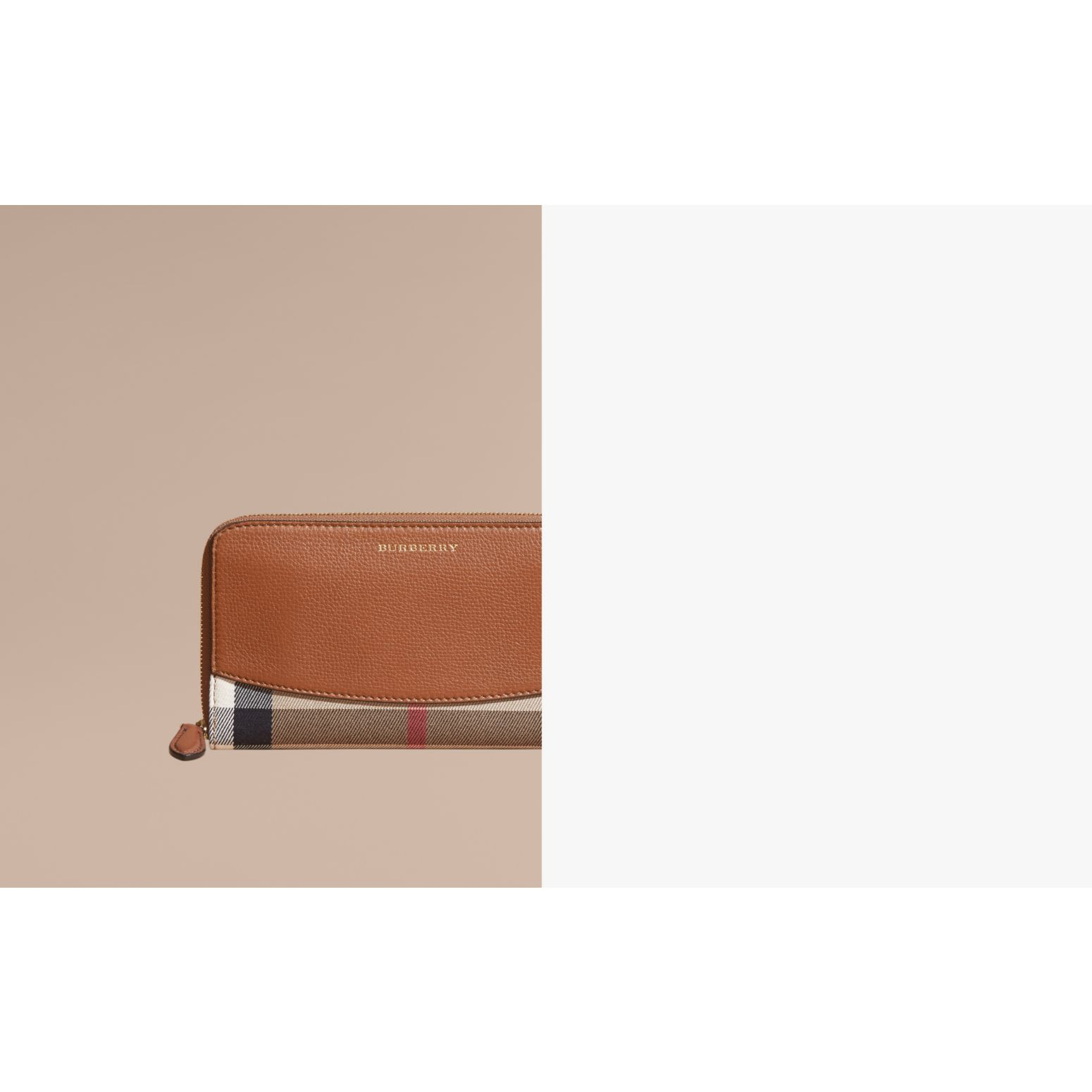 House Check and Leather Ziparound Wallet Brown Ochre - gallery image 2