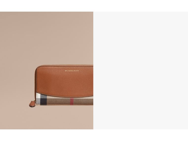 House Check and Leather Ziparound Wallet Brown Ochre - cell image 1
