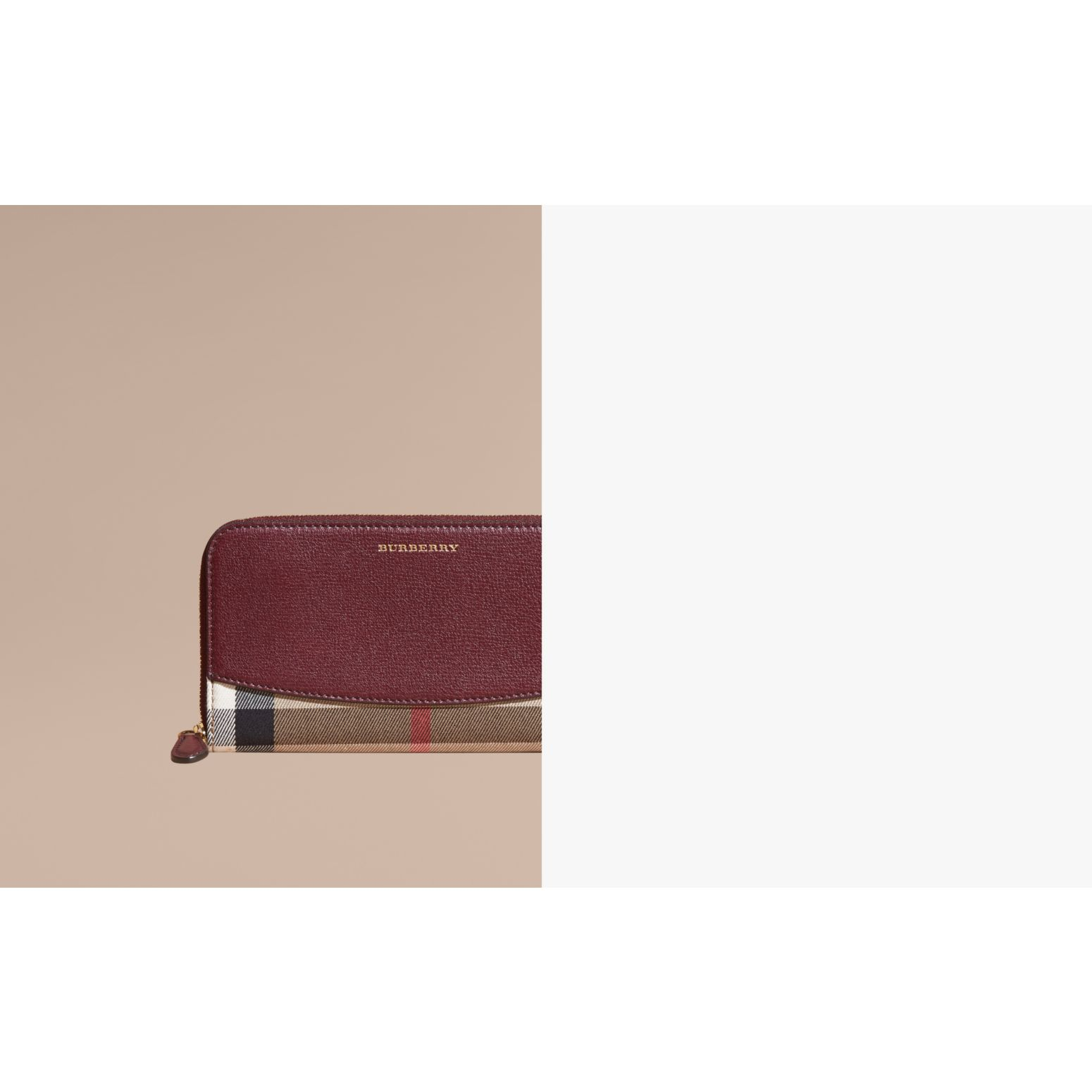 Mahogany red House Check and Leather Ziparound Wallet Mahogany Red - gallery image 2