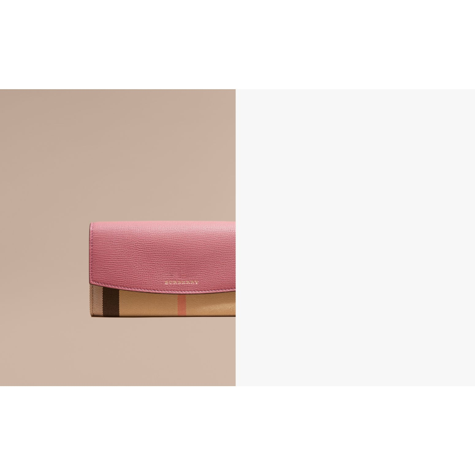 House Check and Leather Continental Wallet Mauve Pink - gallery image 2