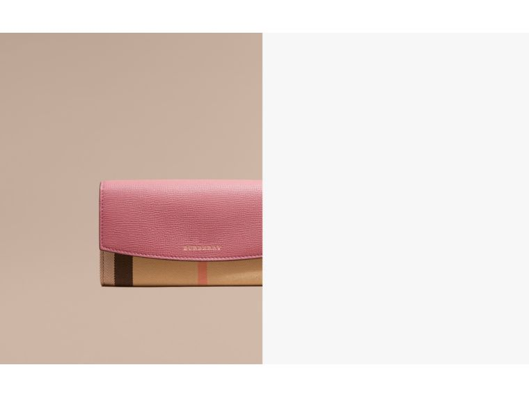 House Check and Leather Continental Wallet Mauve Pink - cell image 1