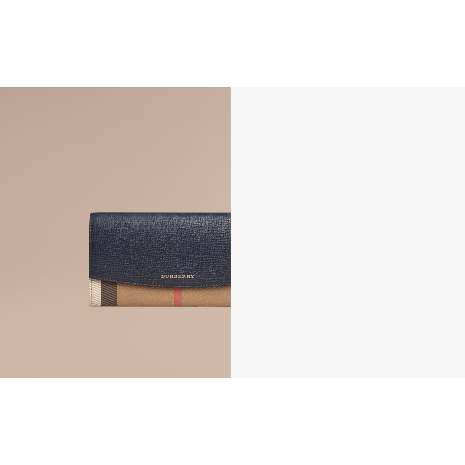 House Check And Leather Continental Wallet in Ink Blue - Women | Burberry Singapore - gallery image 1