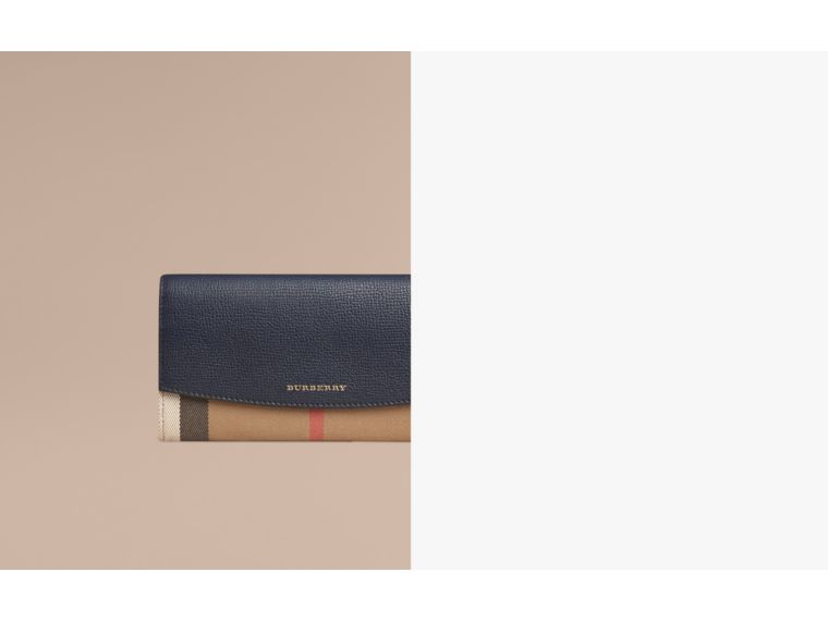House Check And Leather Continental Wallet in Ink Blue - Women | Burberry Singapore - cell image 1