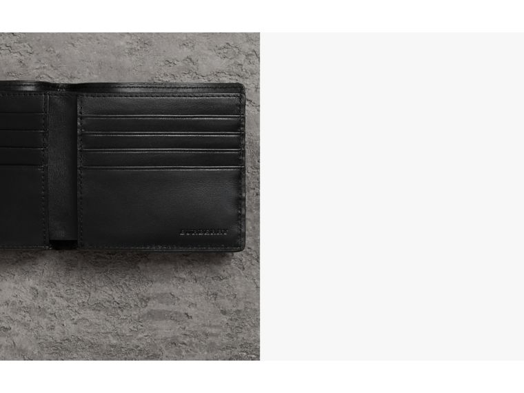 London Check International Bifold Wallet in Navy/black - Men | Burberry - cell image 1