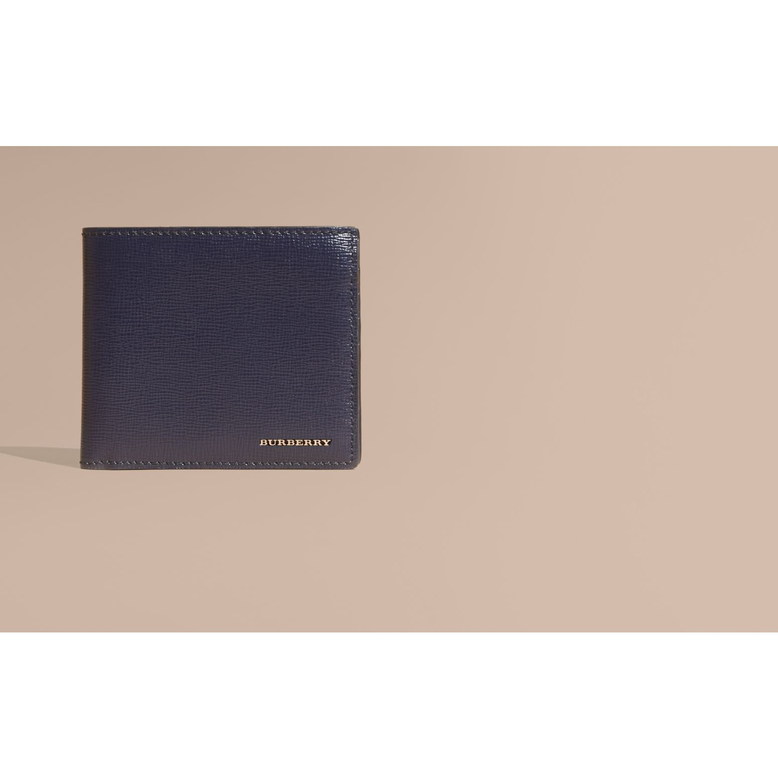 Dark navy London Leather Folding Wallet Dark Navy - gallery image 2
