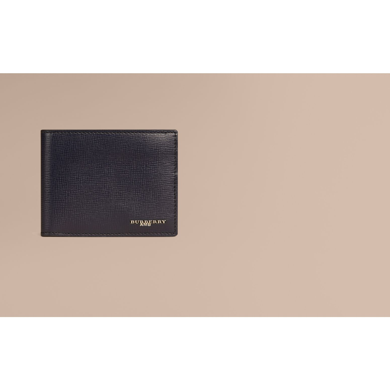 London Leather Bifold Wallet in Dark Navy - gallery image 2