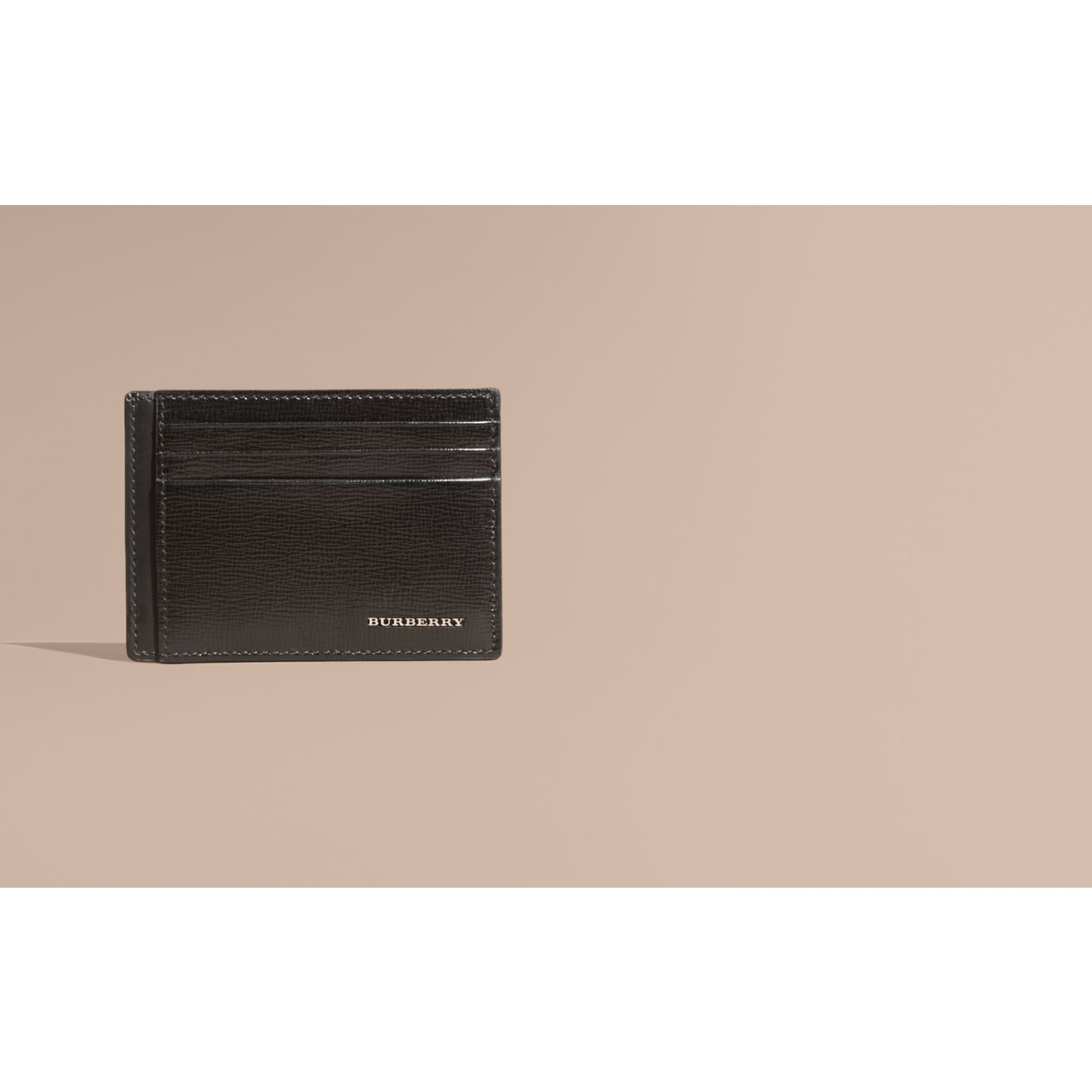 London Leather Card Case in Black | Burberry Canada - gallery image 1