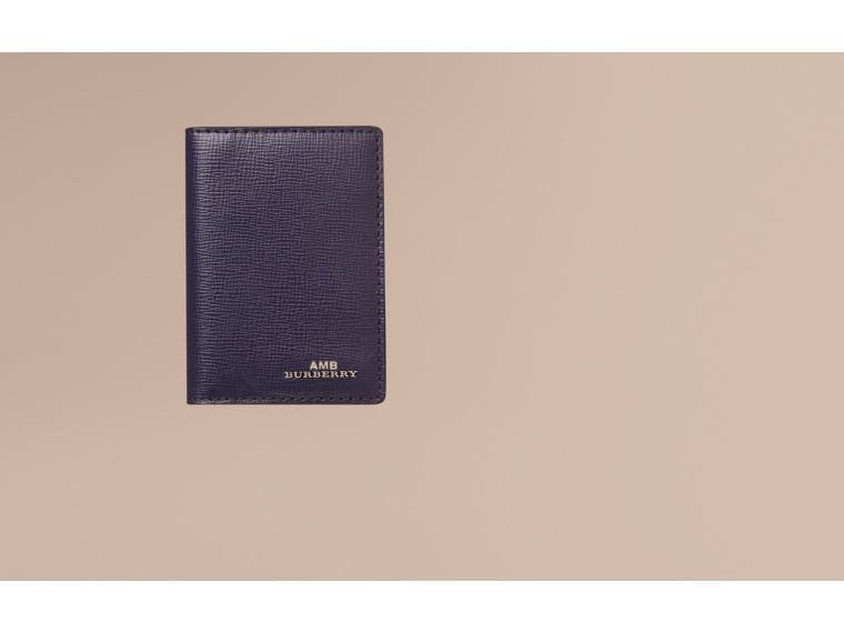 London Leather Folding Card Case in Dark Navy | Burberry - cell image 1