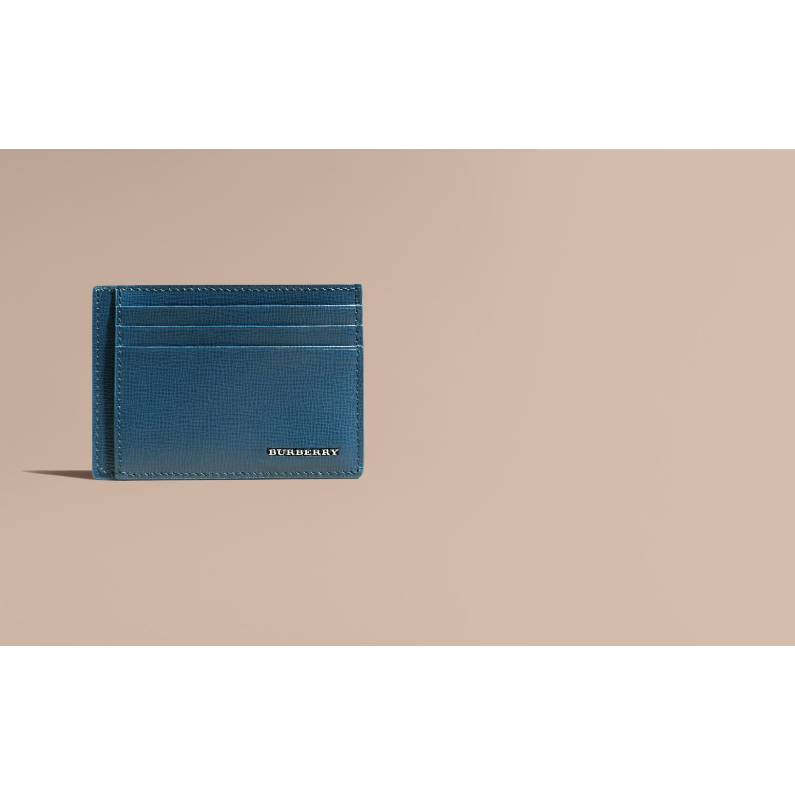 Mineral blue London Leather Card Case Mineral Blue - gallery image 2