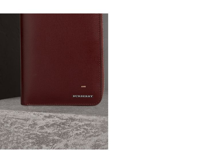 London Leather Ziparound Wallet in Burgundy Red | Burberry - cell image 1