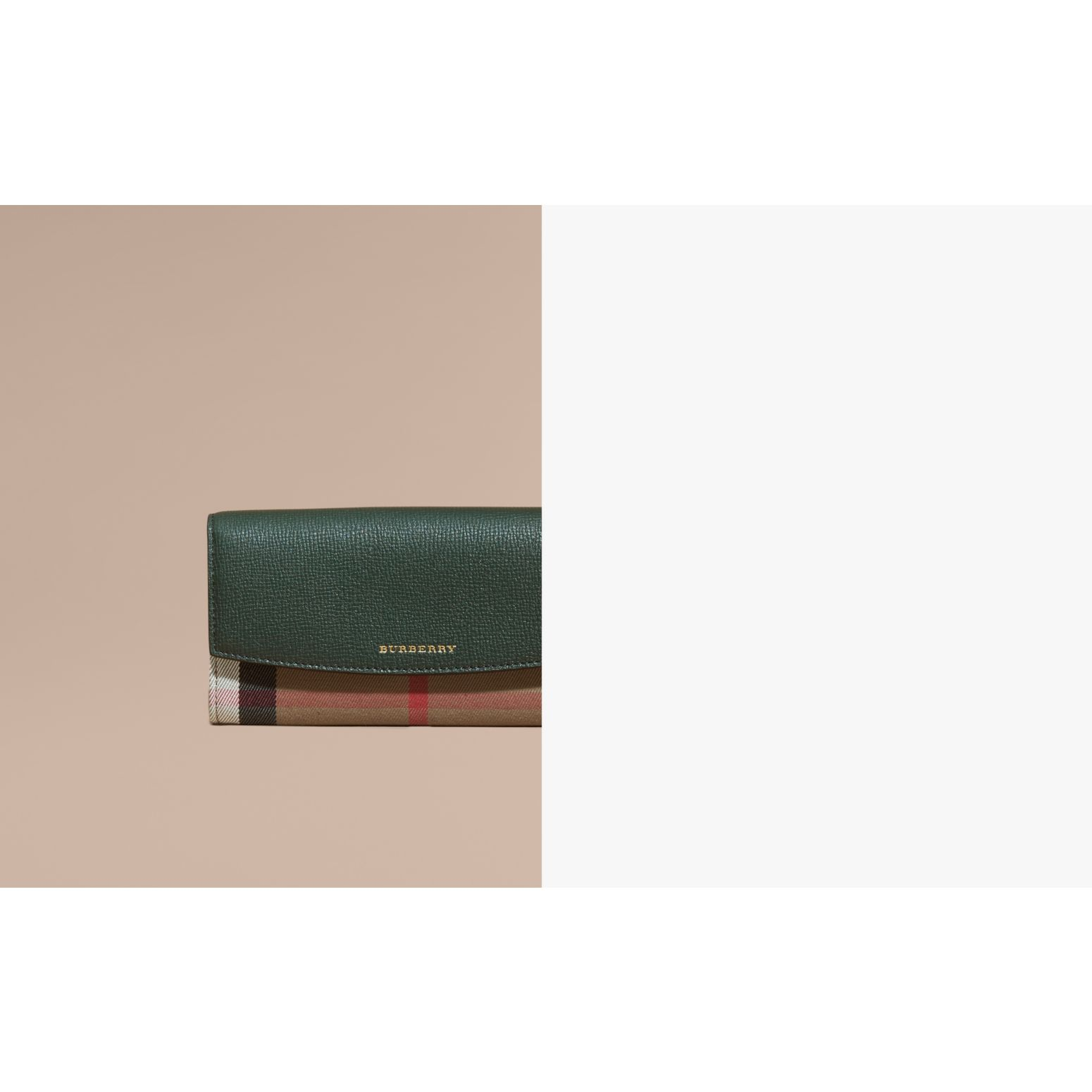 Dark bottle green House Check And Leather Continental Wallet Dark Bottle Green - gallery image 2