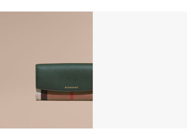 House Check And Leather Continental Wallet Dark Bottle Green - cell image 1